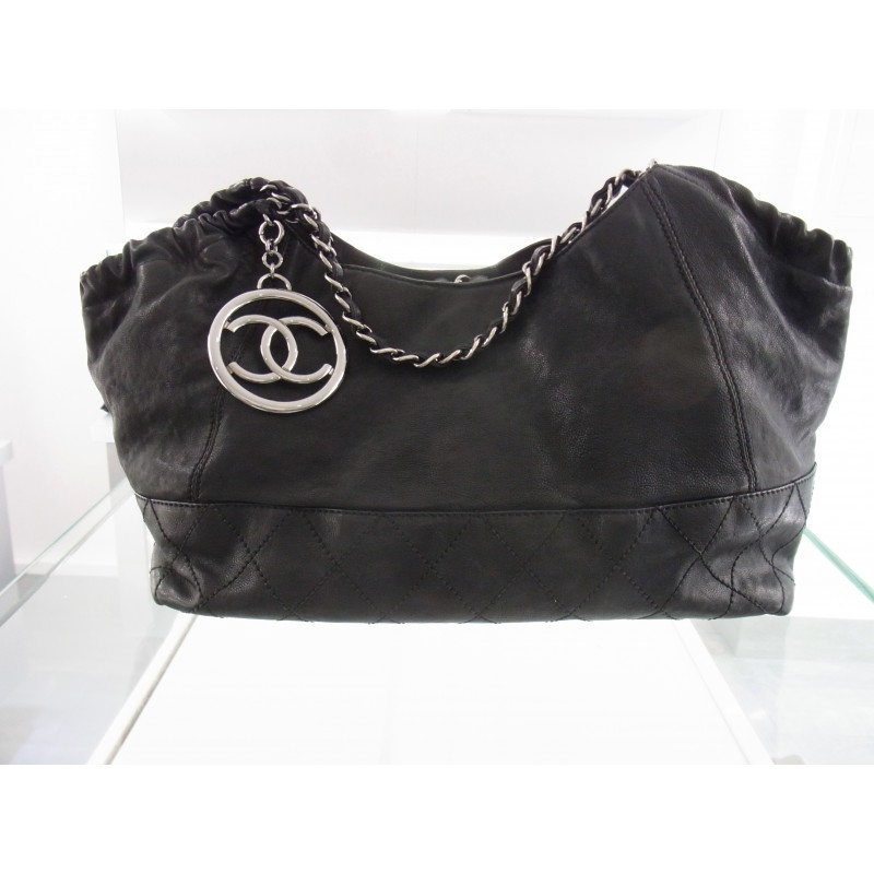 original chanel coco cabas tasche leder schwarz hobo bag. Black Bedroom Furniture Sets. Home Design Ideas