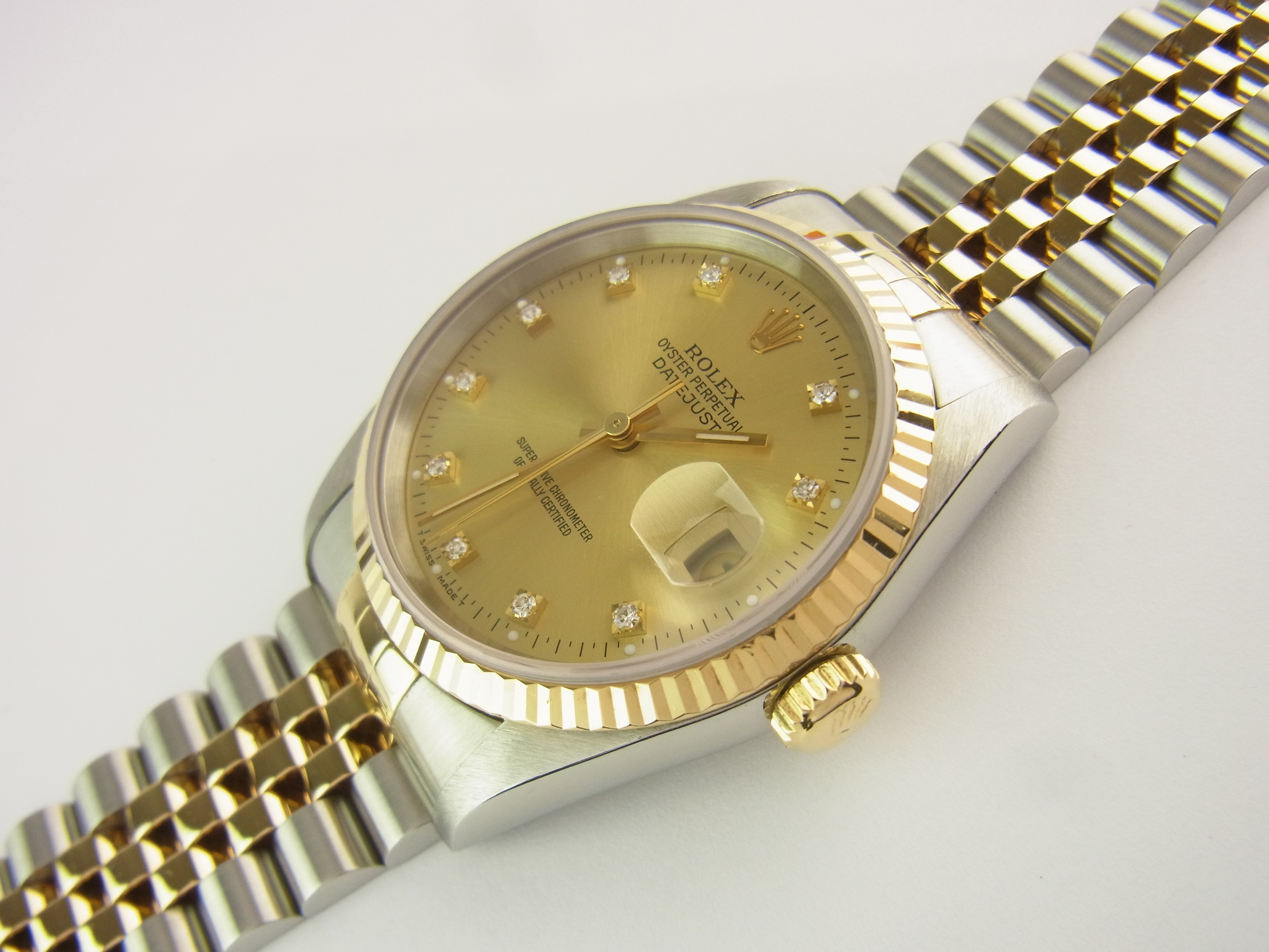 rolex datejust 36 mm ref 16233 stahl gold diamant. Black Bedroom Furniture Sets. Home Design Ideas