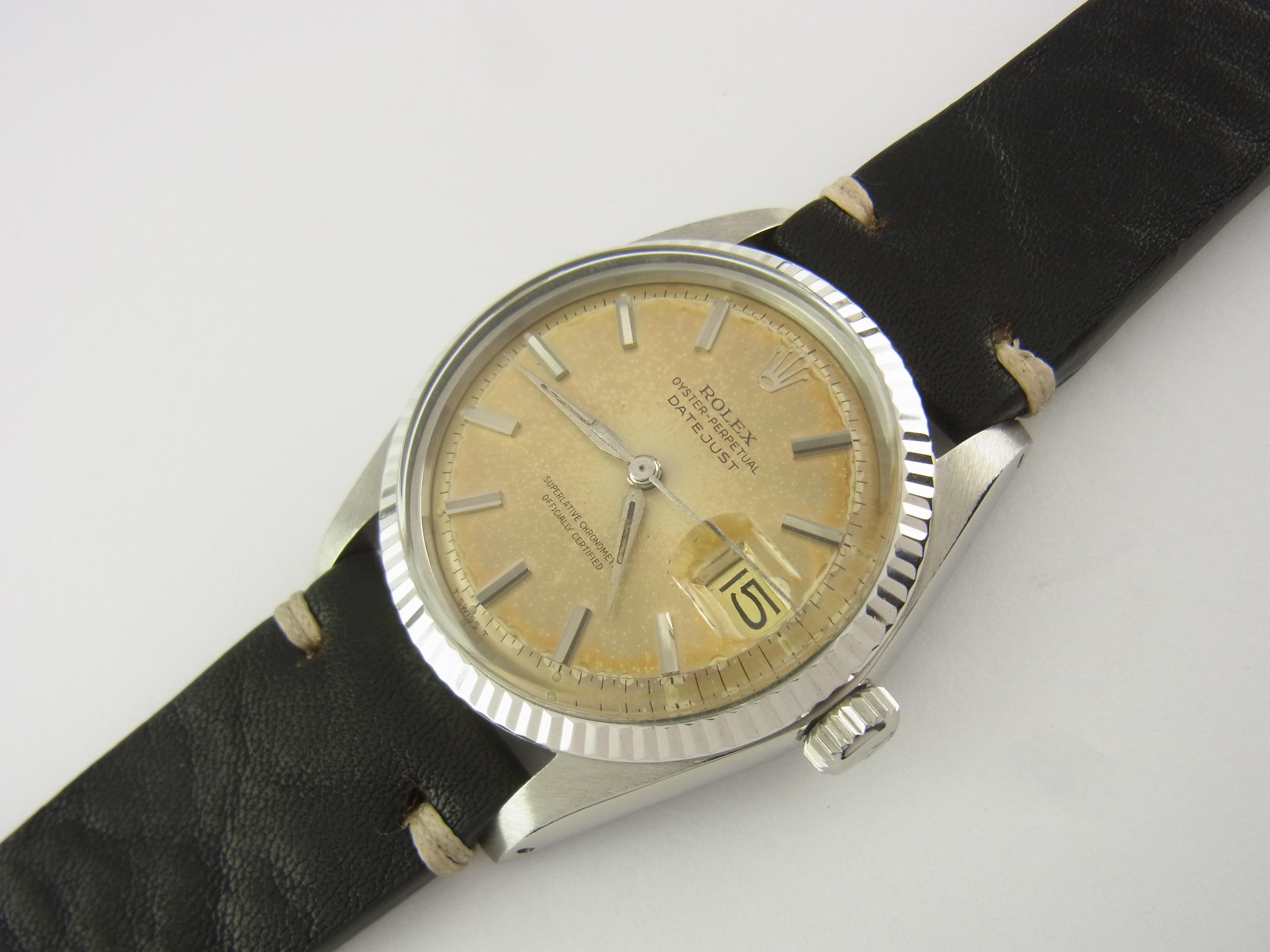 Rolex Datejust 36 mm 1600 Stahl mit Weißgold-Lünette Luxini ...