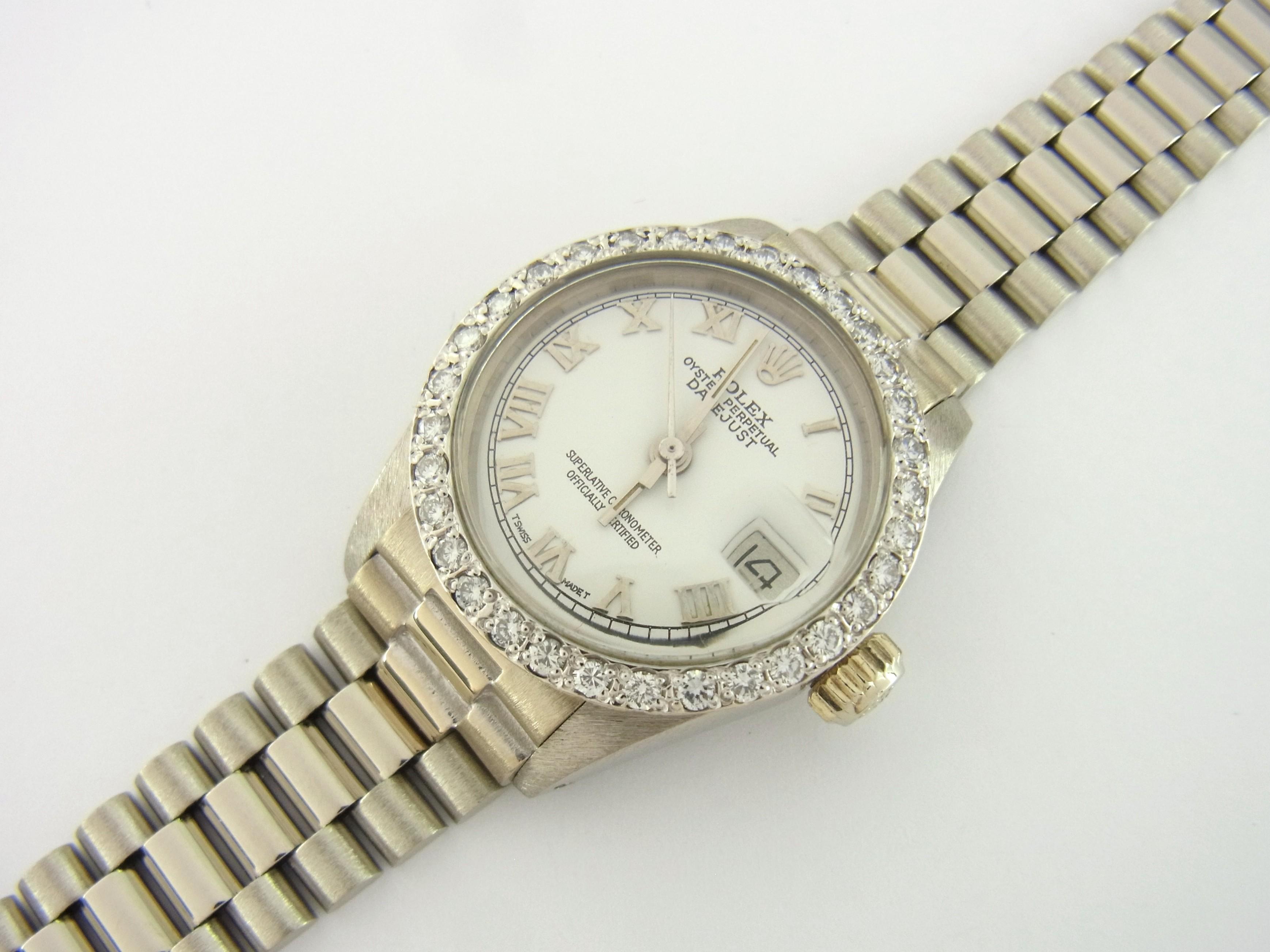 Rolex Datejust Lady Ref 6917 750er Weißgold Diamant-Lünette ...