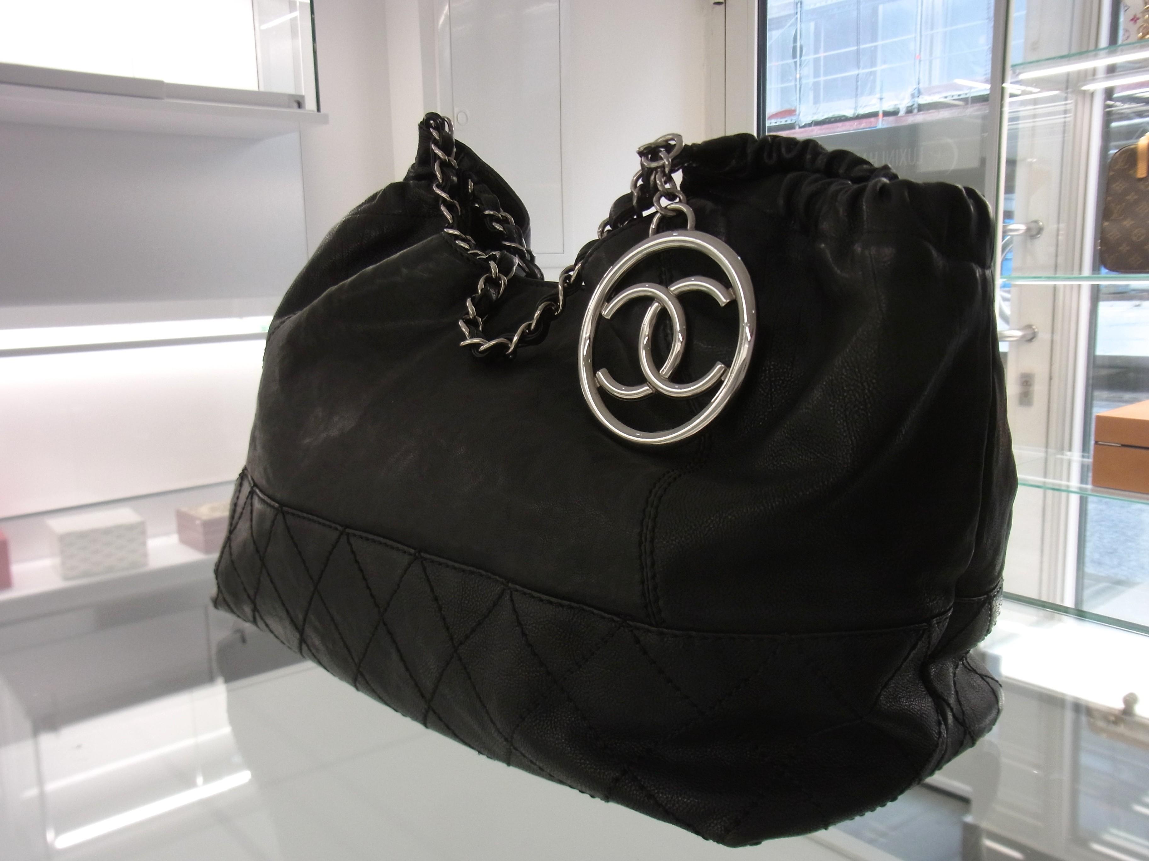 original chanel coco cabas tasche leder schwarz hobo bag. Black Bedroom Furniture Sets. Home Design Ideas