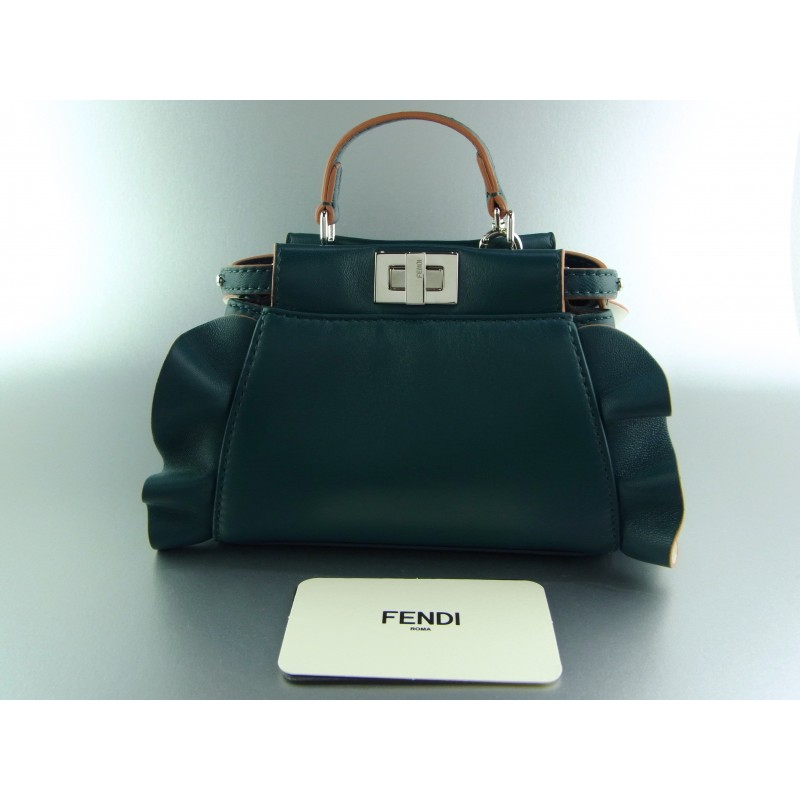 Fendi Peekaboo Micro Tasche Mini Bag Petrol Leder limited edition Fall 2016