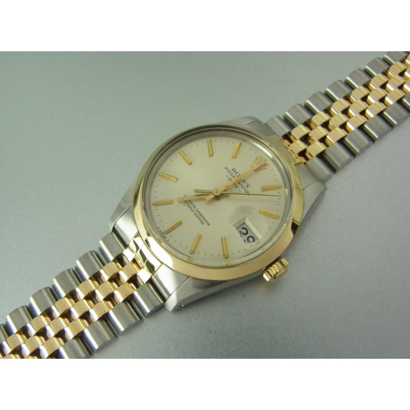 Rolex Oyster Perpetual Date Automatik 34 mm Ref 15003 Stahl/Gold Bicolor mit Jubileeband