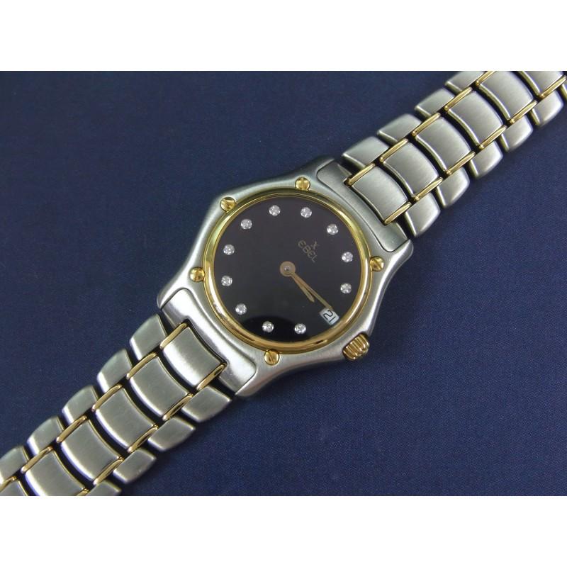 EBEL 1911 Classic Damenuhr Quarz Stahl 18 kt Gelbgold Diamanten Ref 188901
