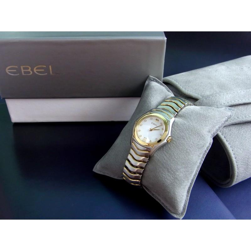EBEL Classic Wave Damenuhr Quarz Stahl 18 kt Gelbgold Diamanten 1090F21