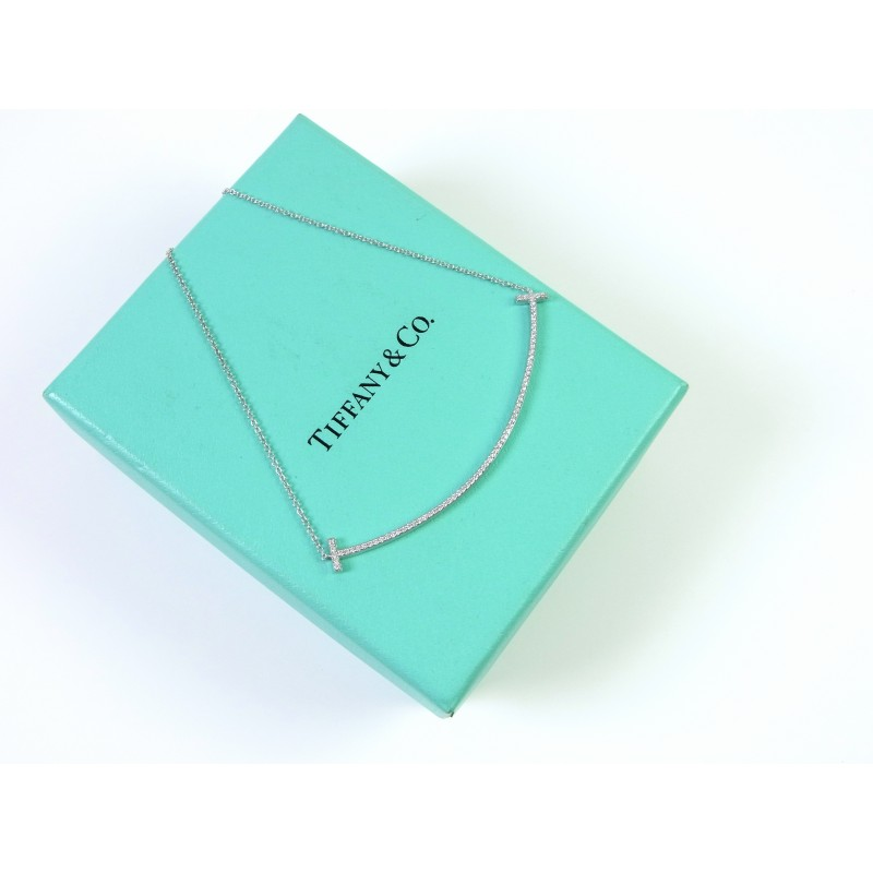 TIFFANY & Co. T Smile Kette Anhänger Collier Pendant 18 kt Weißgold Diamanten