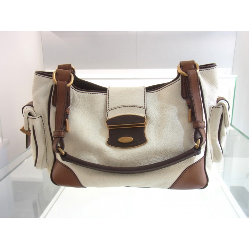 Prada Milano Tasche Schultertasche Leder weiß/braun original