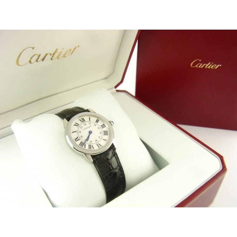 Cartier Ronde Solo Lady Quartz Edelstahl Krokoleder Ref W6700155