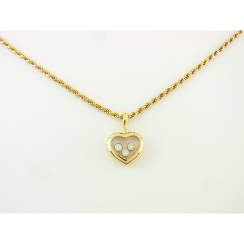 Chopard Happy Diamonds Heart Kette mit Anhänger Collier 18 kt Gold 3 Diamanten