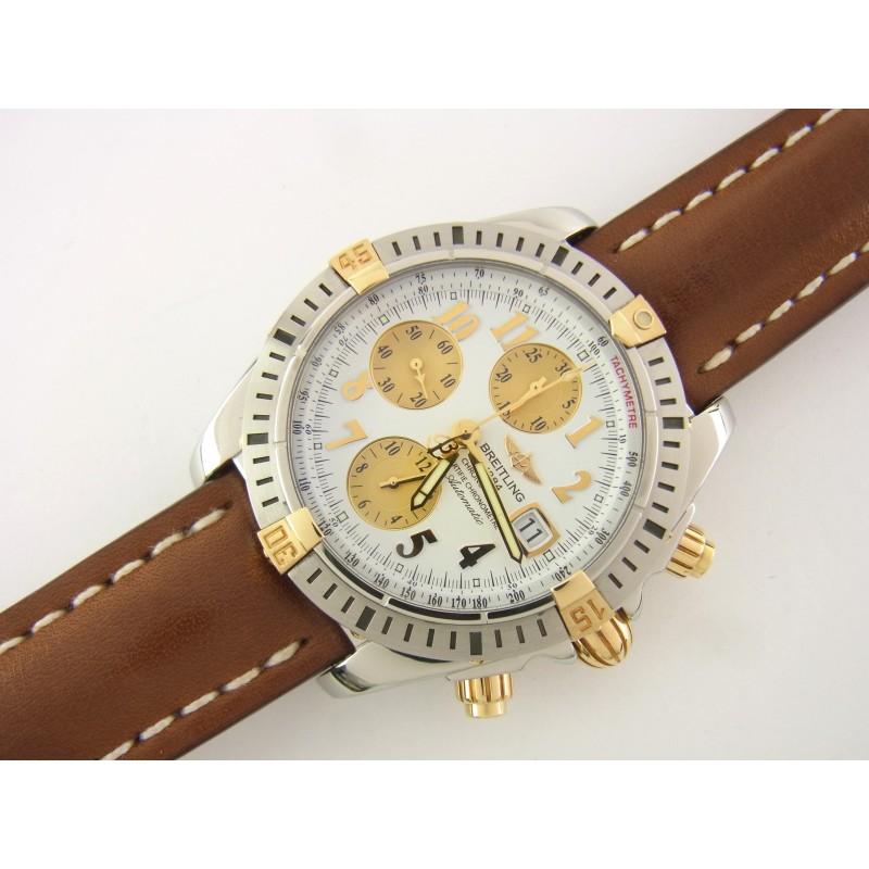 Breitling Chronomat Evolution B13356 44 mm Stahl/Gold Lederband