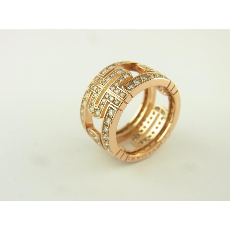 Bulgari BVLGARI Parentesi Ring 18 kt Rosegold Diamanten Größe 52