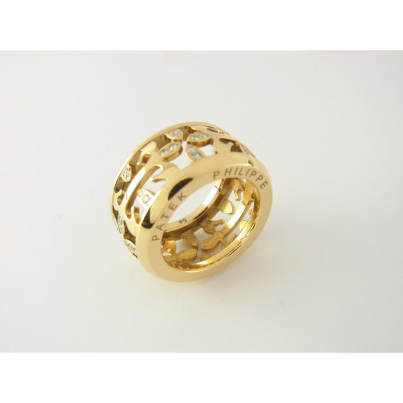Patek Philippe Calatrava Ring 18 kt Gelbgold Diamanten Gr 54 mit Box