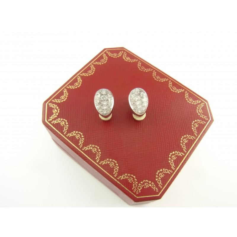 Cartier Myst Rock Crystal Ohrclips Ohrringe 18 kt Weißgold Diamanten