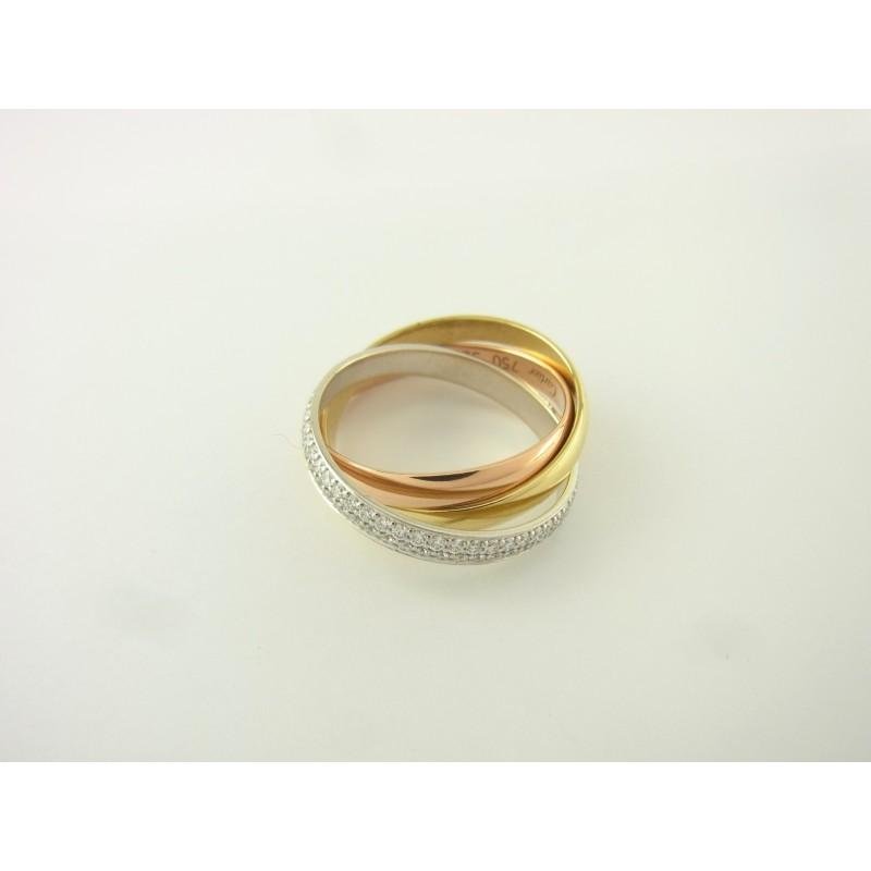 Cartier Trinity Ring 18 kt Gold mit Diamanten Größe 52