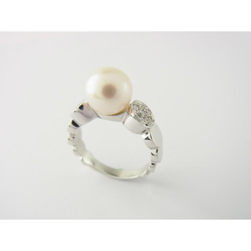 PIAGET Ring 18 kt Weißgold mit Perle & Diamanten