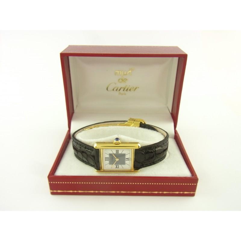 Cartier Must Tank Vermeil Damenuhr  925er Silber / vergoldet
