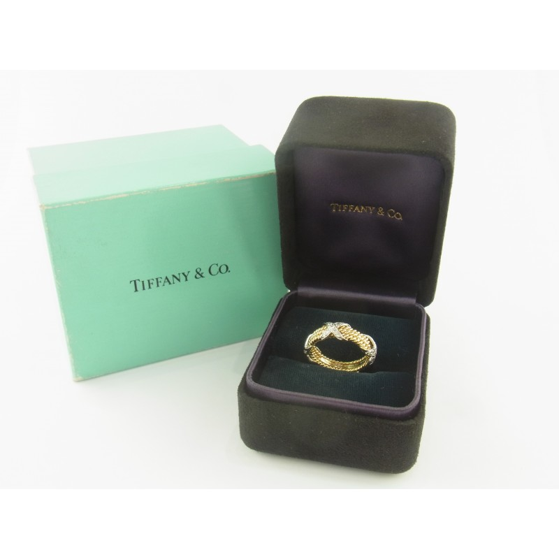 Tiffany & Co. Schlumberger Rope Diamond Ring 18 kt Gold 950 PT Diamanten