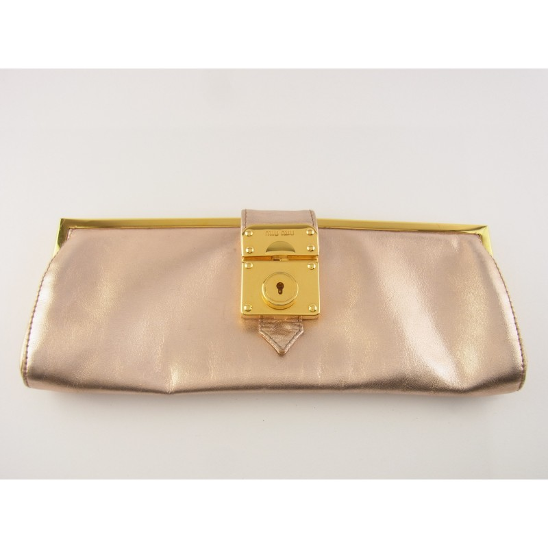 Original Miu Miu Tasche Mini Clutch Pochette Leder Rose Metallic