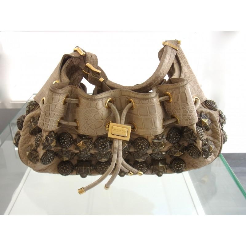 Burberry Warrior Tasche Krokoleder Hobo Bag Studded alligator leather