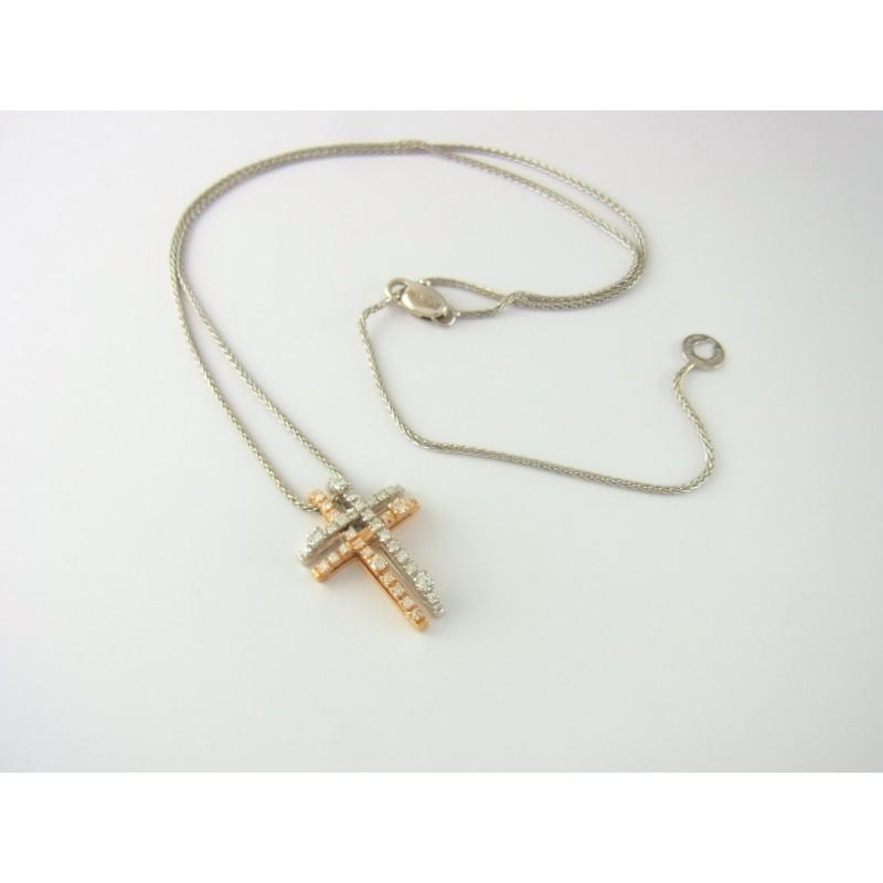 Damiani Kreuz Anhänger mit Kette 18 kt Gold Diamanten